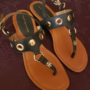 Tommy Hilfiger navy blue and gold sandals